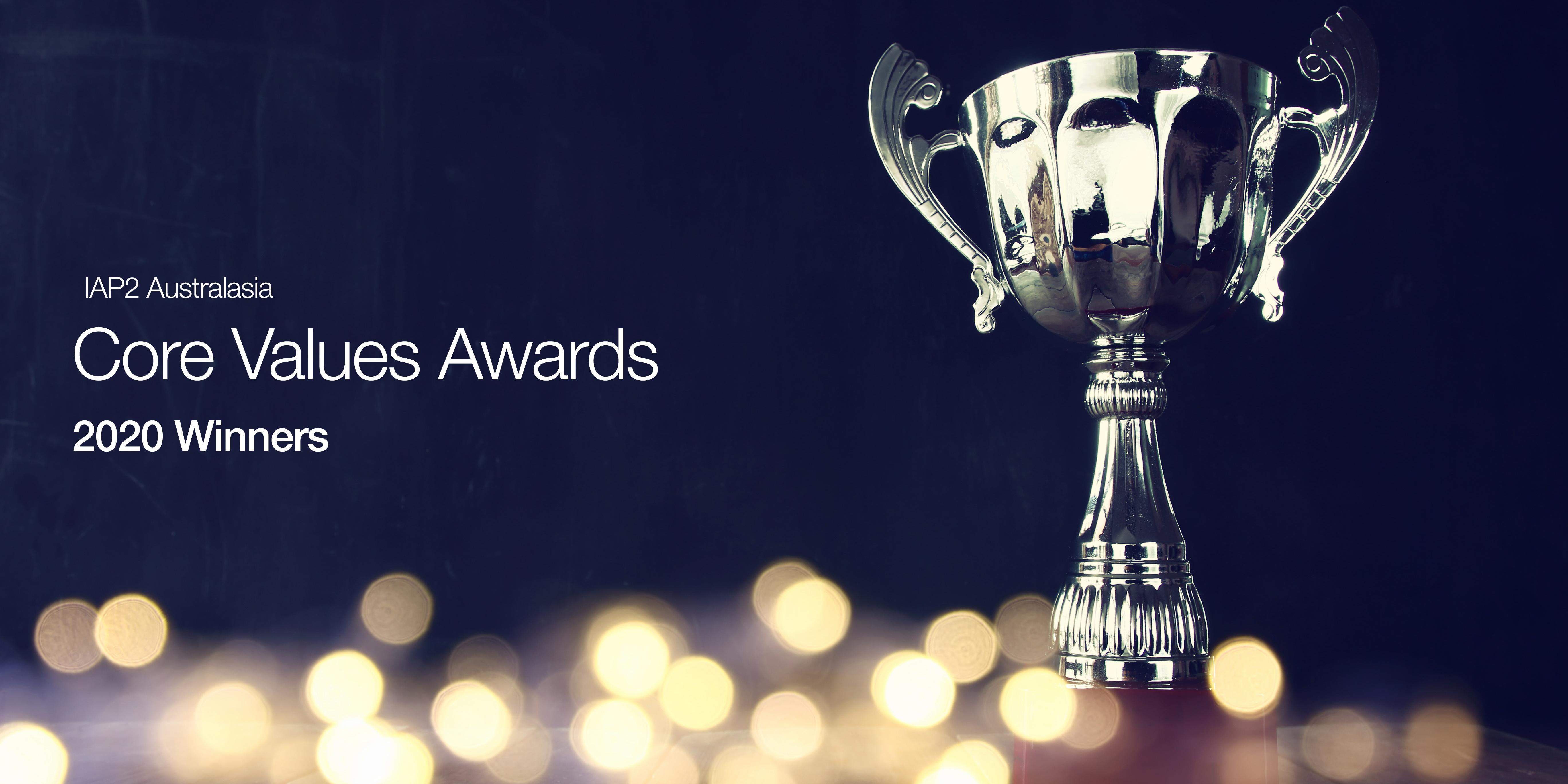 2020 Core Values Awards winners trophy banner
