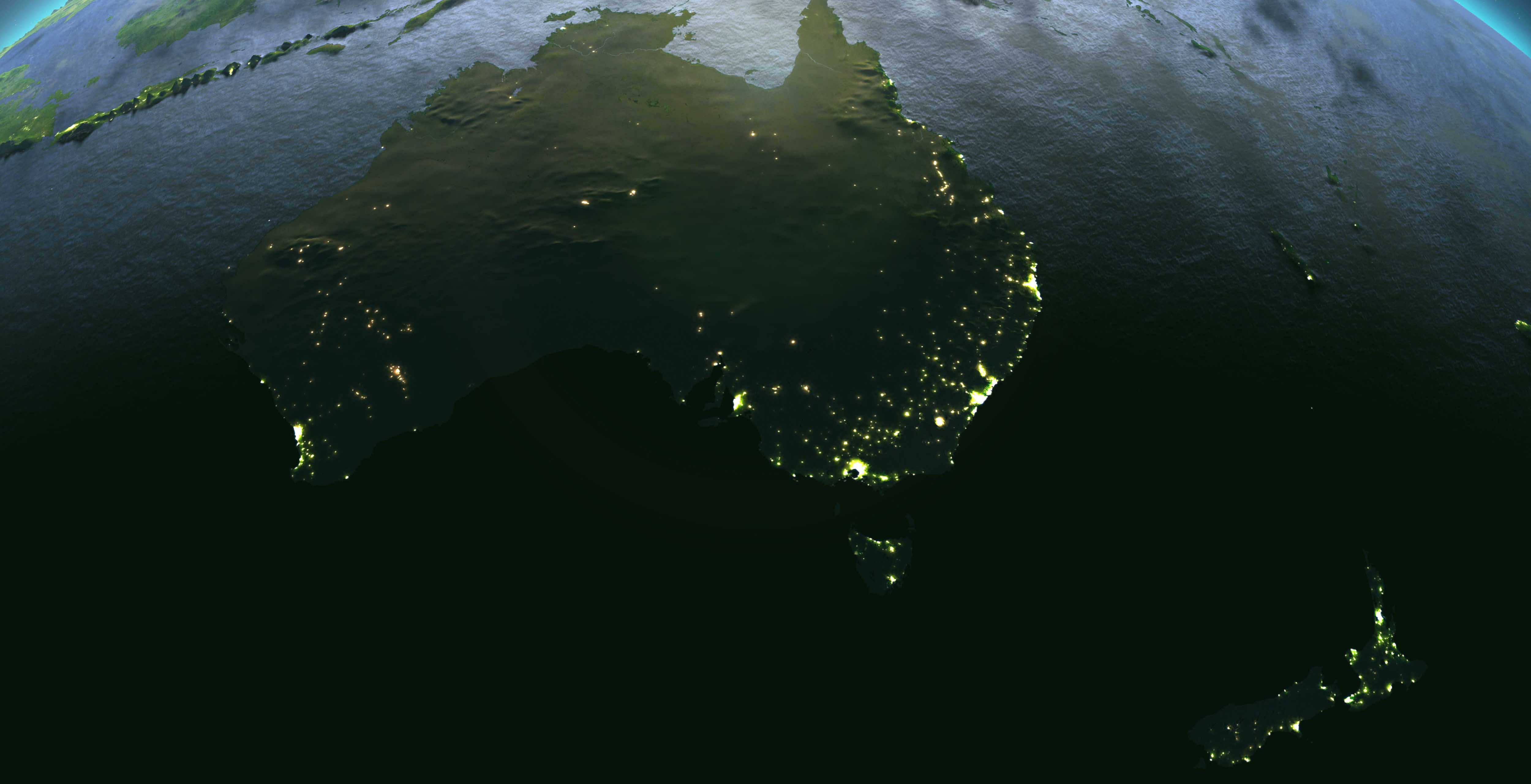 Satellite image of Australia and New Zealand
