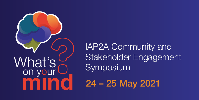 What's on your mind? IAP2A Comunity and Stakeholder Engagement Sympsium banner with coloured brain